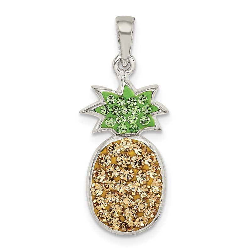 Quality Gold Sterling Silver Yellow/Green Preciosa Crystal Pineapple Pendant