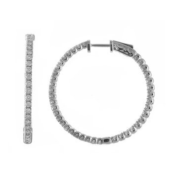 14K 1.52ct White Gold Diamond Secure Lock 35 mm Hoop Earrings