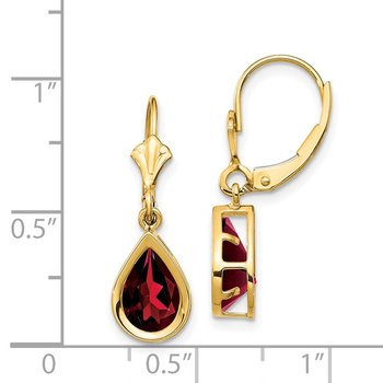 14k 9x6mm Pear Garnet Leverback Earrings