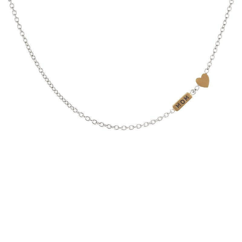 Heather B. Moore 2mm Silver Chain with Mom and Heart Accent