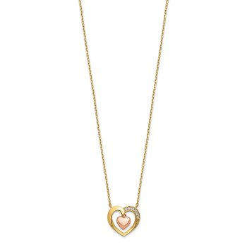 14K Two-Tone Hearts CZ 18 inch with 2 inch ext. Necklace