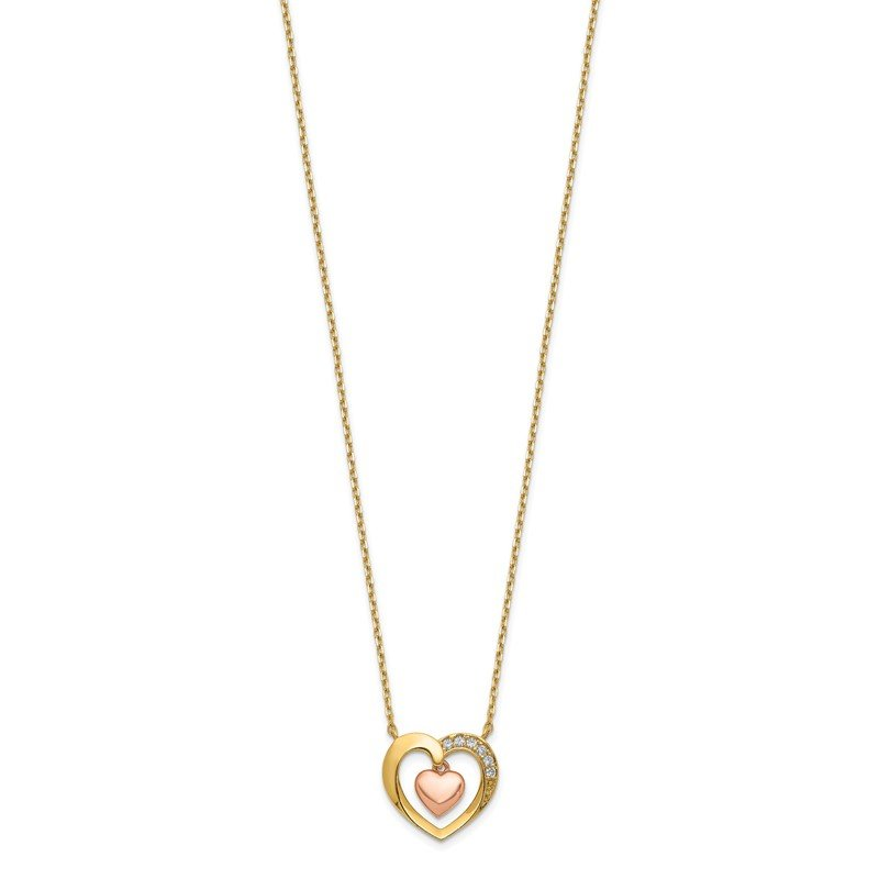 Quality Gold 14K Two-Tone Hearts CZ with 2IN EXT Necklace