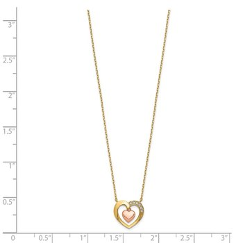 14K Two-Tone Hearts CZ with 2IN EXT Necklace