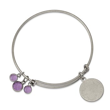 Silver-tone Brass Purple Crystal Bangle Bracelet