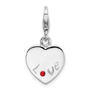 SS Rhodium Polished w/ Red CZ LOVE Heart Lobster Clasp Charm