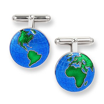 Blue Earth T-Bar Cufflinks.Sterling Silver