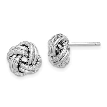 Sterling Silver RH-plated Polished/Textured Love Knot Post Earrings