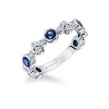 14K White Gold Diamond & Sapphire Wedding Band