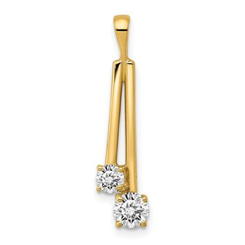 14k AA Diamond Two Stone Pendant