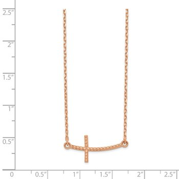 14k Rose Gold Sideways Curved Textured Cross Necklace