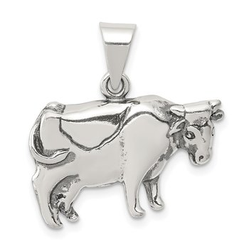 Sterling Silver Antiqued Cow Charm