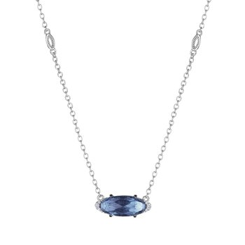 Solitaire Oval Gem Necklace with London Blue Topaz