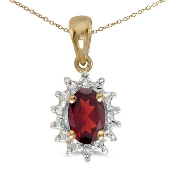 10k Yellow Gold Oval Garnet And Diamond Pendant