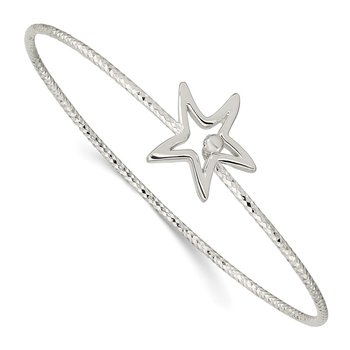 Sterling Silver Diamond Cut Star Interlocking Bangle Bracelet