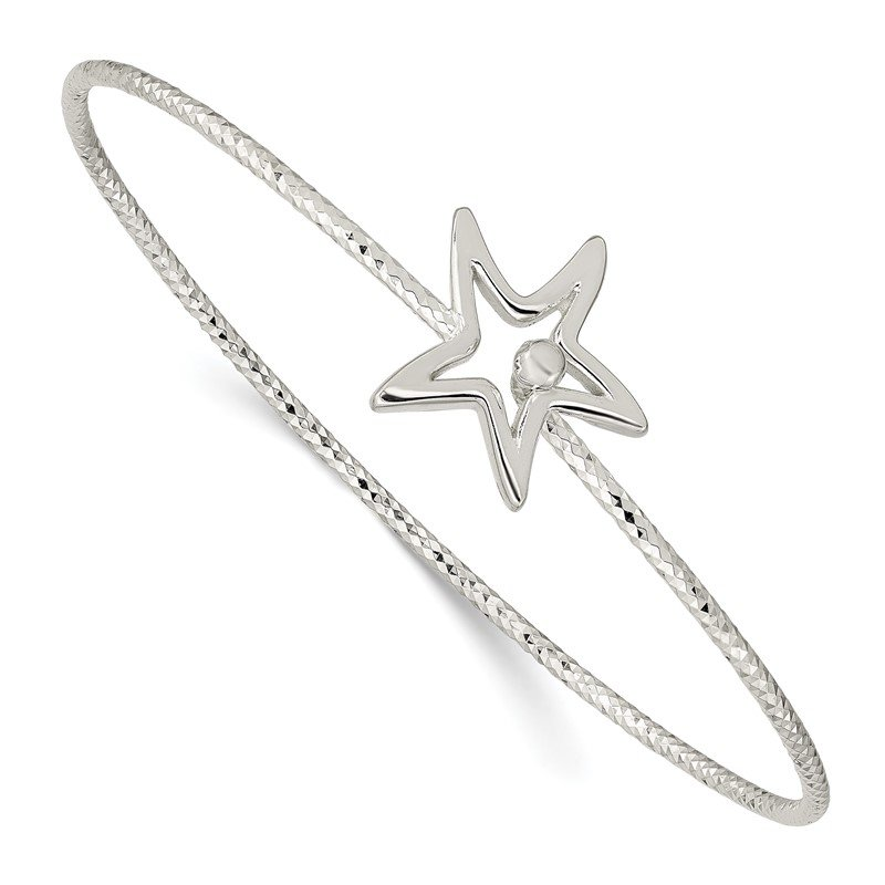 Quality Gold Sterling Silver Diamond Cut Star Interlocking Bangle Bracelet
