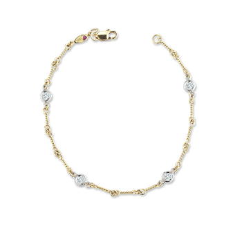 18KT GOLD DOGBONE CHAIN BRACELET WITH DIAMONDS