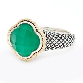 18kt and Sterling Silver Green Agate Clover Mini Ring