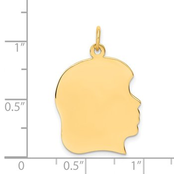 14k Plain Large .013 Gauge Facing Right Engravable Girl Head Charm