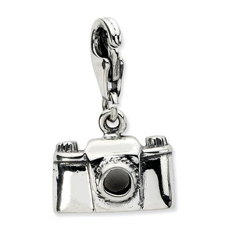 Sterling Silver Amore La Vita Rhodium-pl Antiqued Polished Camera Charm