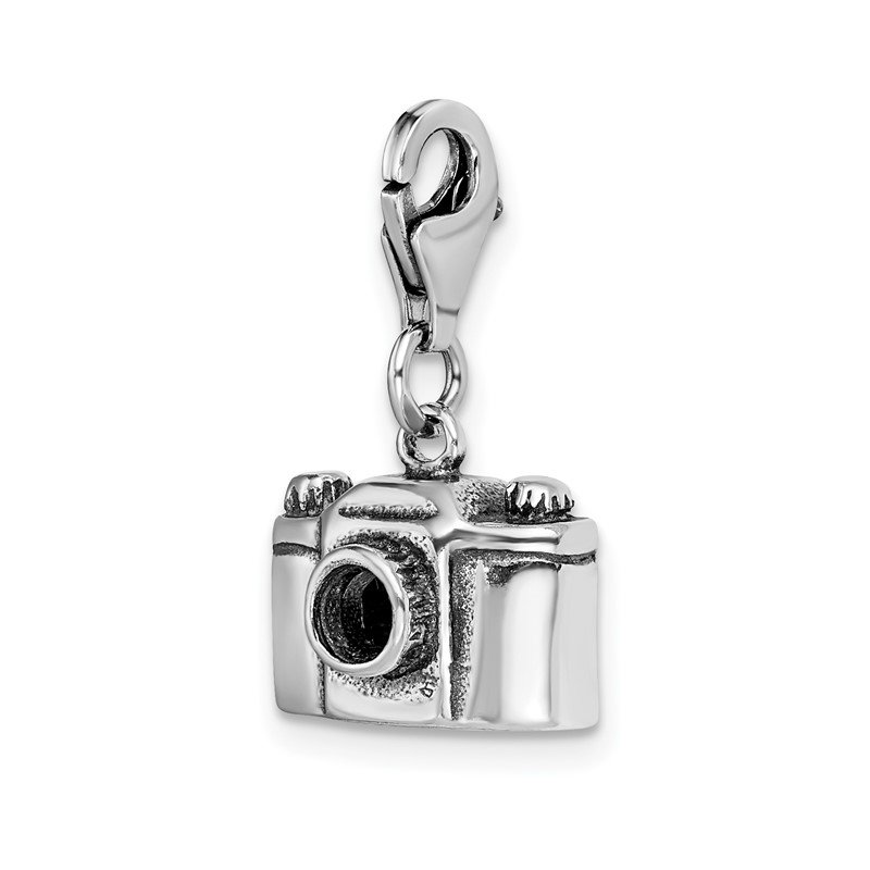 Quality Gold Sterling Silver Amore La Vita Rhodium-pl Antiqued Polished Camera Charm