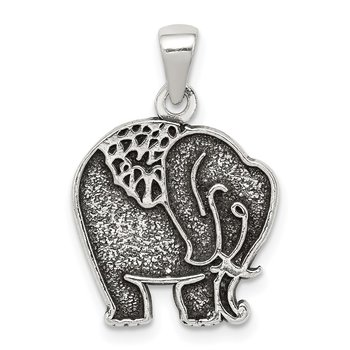 Sterling Silver Antiqued & Textured Elephant Pendant