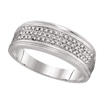 10kt White Gold Mens Round Diamond Triple Row Wedding Anniversary Band Ring 1/10 Cttw