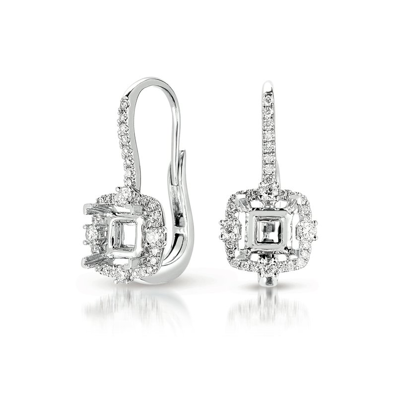 Briana Hallo Earring Setting For 1ct tw princes