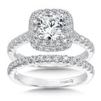 Caro74 Double Cushion Halo Engagement Ring with Side Stones in 14K White Gold (1ct. tw.)