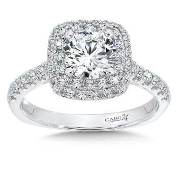 Double Cushion Halo Engagement Ring with Side Stones in 14K White Gold (1ct. tw.)