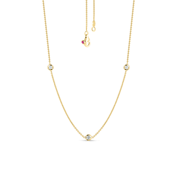 Necklace With 3 Diamond Stations &Ndash; 18K Yellow Gold