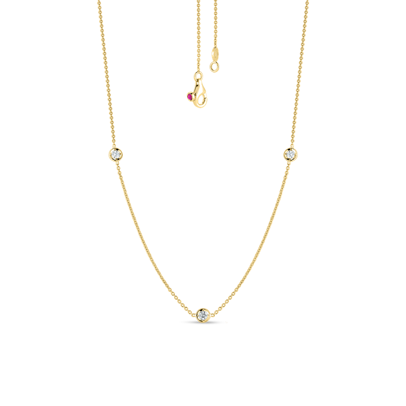 Roberto Coin Necklace With 3 Diamond Stations &Ndash; 18K Yellow Gold