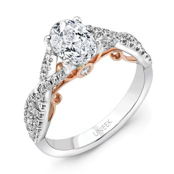 "Uneek ""Paradiso"" Oval Diamond Solitaire Engagement Ring with Pave Infinty/Crisscross Shank in 14K White Gold, and Under-the-Head Filigree in 14K Rose Gold"