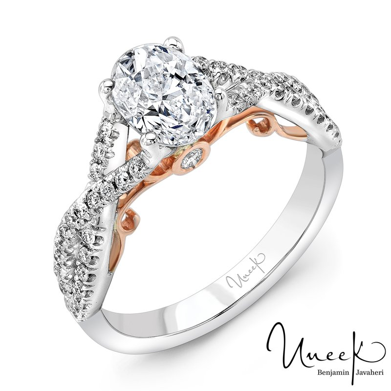"Uneek Fine Jewelry Uneek ""Paradiso"" Oval Diamond Solitaire Engagement Ring with Pave Infinty/Crisscross Shank in 14K White Gold, and Under-the-Head Filigree in 14K Rose Gold"