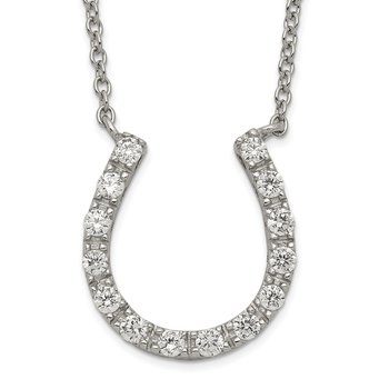 Sterling Silver Rhodium-plated CZ Horseshoe Necklace