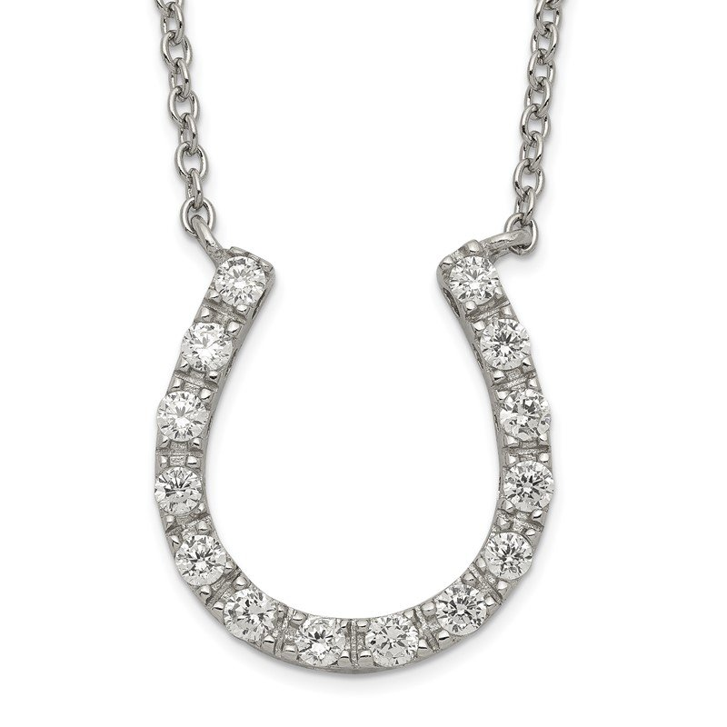 Quality Gold Sterling Silver Rhodium-plated CZ Horseshoe Necklace