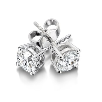 Four Prong Diamond Studs in 14k White Gold Screw-back posts (1ct. tw.)