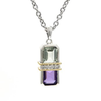 18kt and Sterling Silver Amethyst, Green Amethyst & Diamond Necklace
