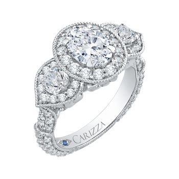 18K White Gold Oval Diamond Halo Engagement Ring (Semi-Mount)