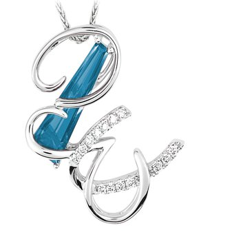 Initial Pendant - Chatham Created Aqua Blue Spinel