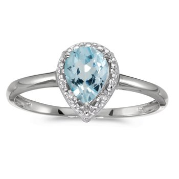 10k White Gold Pear Aquamarine And Diamond Ring