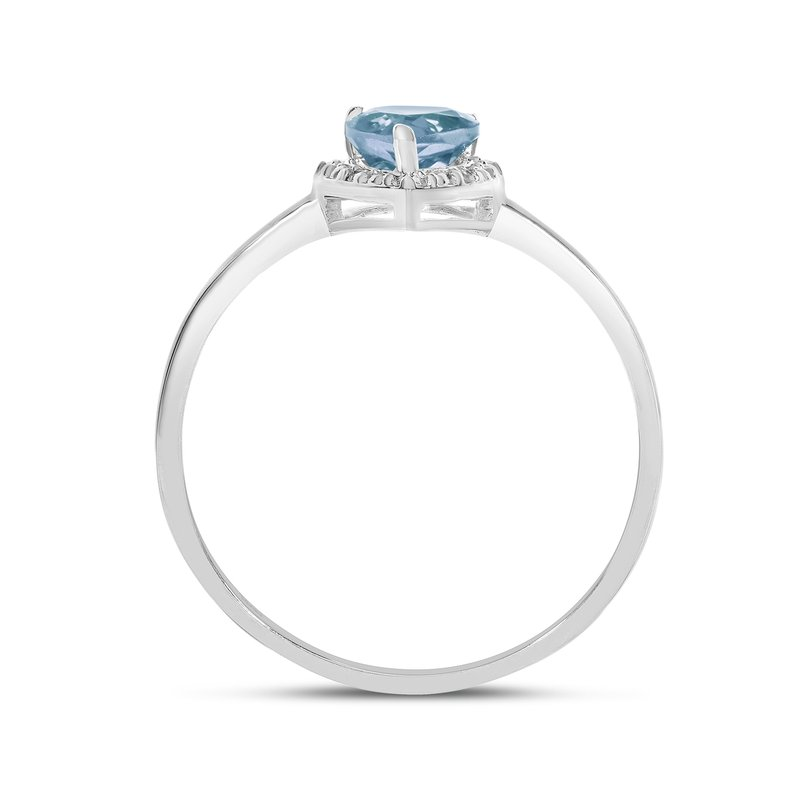 Color Merchants 10k White Gold Pear Aquamarine And Diamond Ring