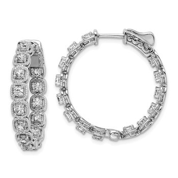 Sterling Silver Rhodium Plated CZ In and Out round Hoop Earrings