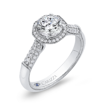 Round Halo Diamond Vintage Engagement Ring In 18K White Gold (Semi-Mount)