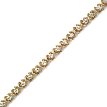 14K Yellow Gold X&O 3.00ctw Round Diamond Bracelet