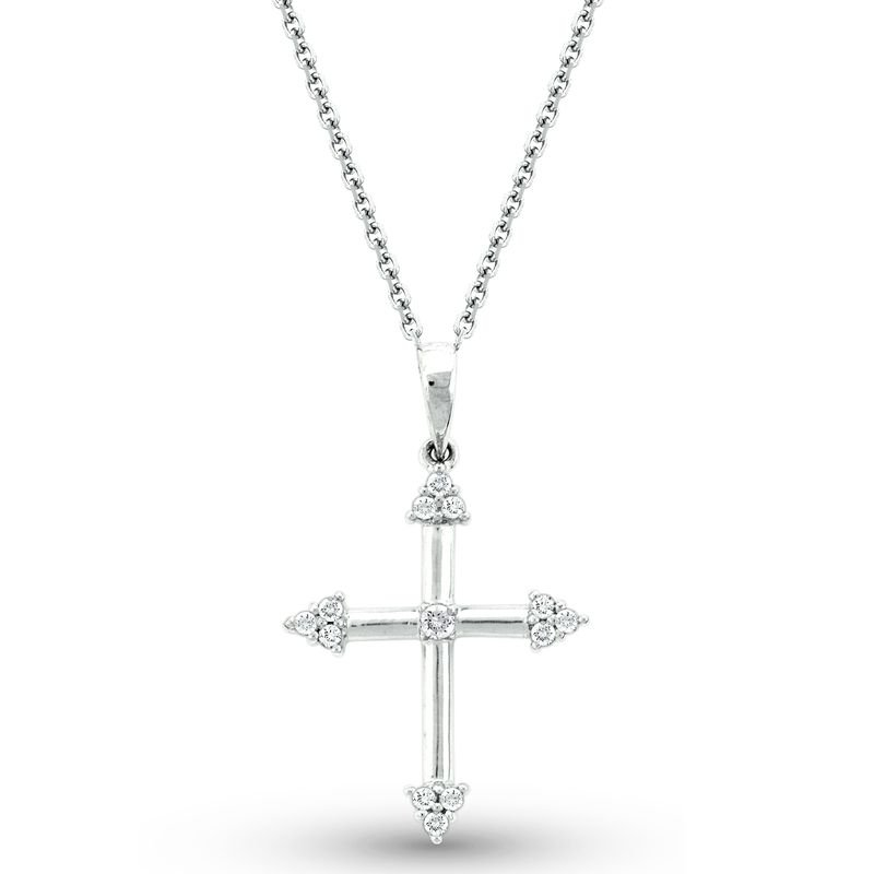 KC Designs Diamond Cross Necklace in 14K White Gold with 13 Diamonds Weighing  .12ct tw