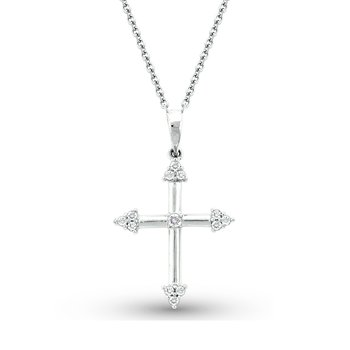 Diamond Cross Necklace in 14K White Gold with 13 Diamonds Weighing  .12ct tw