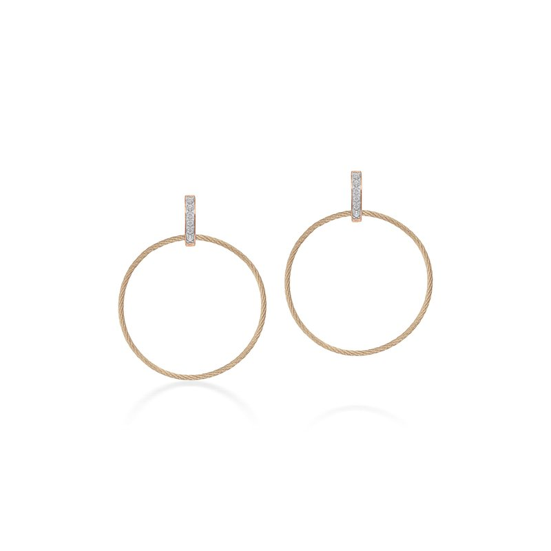 ALOR Drop Circle Earrings with 18kt Gold & Diamonds