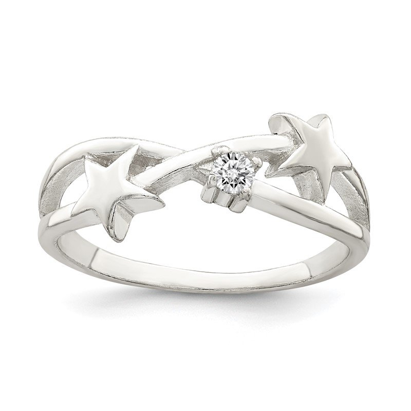 Quality Gold Sterling Silver CZ Star Ring