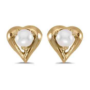 10k Yellow Gold Freshwater Cultured Pearl Heart Earrings