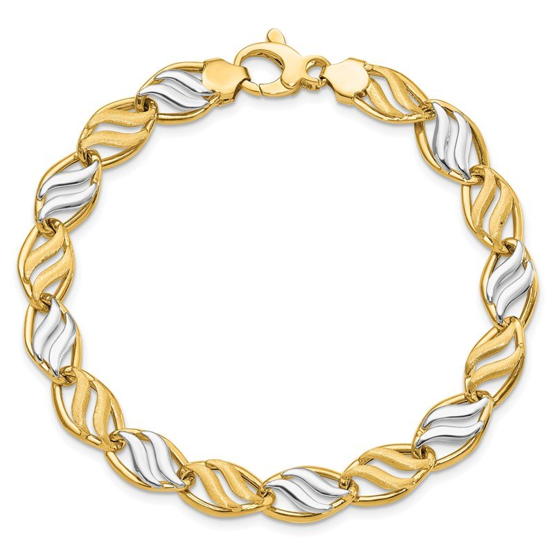 Leslie's Leslie's 14K Two-tone Polished & Brushed Link Bracelet